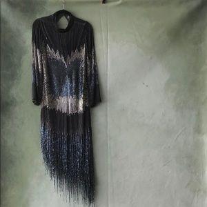 High neck beaded flapper dress